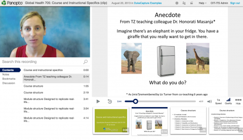 Screen capture of DukeCapture session with professor and presentation