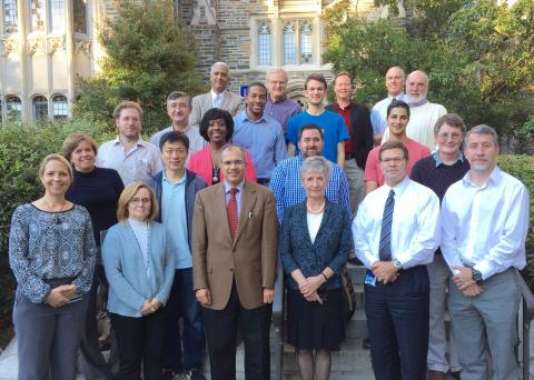 Duke's IT Council poses in front of Allen building