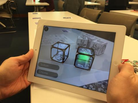 iPad showing augmented reality