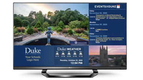 Image of duke digital signage display on standard TV monitor