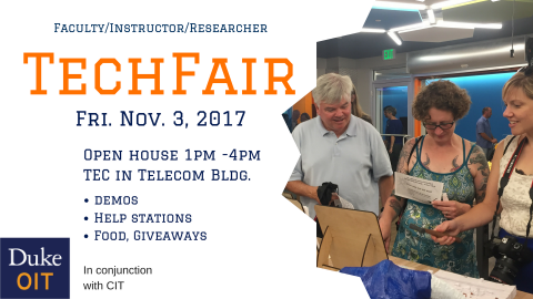 Flyer promoting techfair for faculty