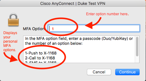 Screen capture of VPN login screen with MFA fields called out.