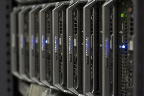 Row of dell hard drive servers