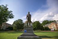 statue overlooking duke east campus