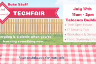 digital sign promoting staff techfair July 17