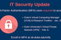 Sign to promote multifactor authentication added to VPN & some computing services