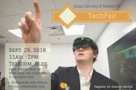 A man is shown wearing a virtual reality headset in a poster promoting faculty techfair.