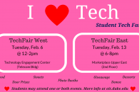 I heart tech fair flyer for student events, feb 6 & feb 13.