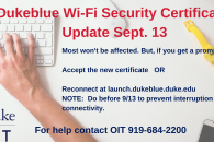 Digital sign announcing wifi security certificate update on sept. 13.