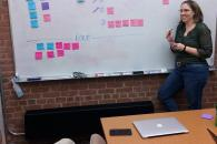 Laura Webb conducts a meeting with sticky notes