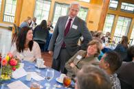President Brodhead talks to winners of the diversity and teamwork awards