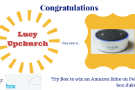 Graphic announcing box contest winner of an echo dot