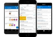 Images of phones with outlook app