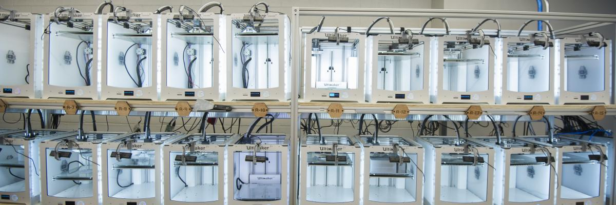 Image of rows of 3d printers