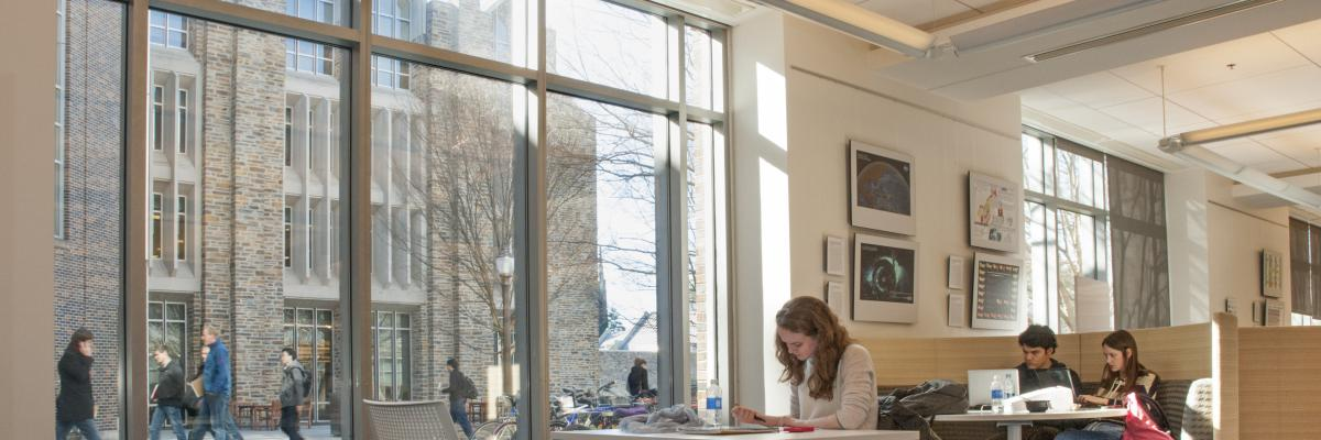 Students Studying at the Edge with a beautiful view of Duke campus